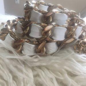 Gold White Women's Belt - One Size